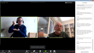 Captura de pantalla reunión online con interprete y transcripción.