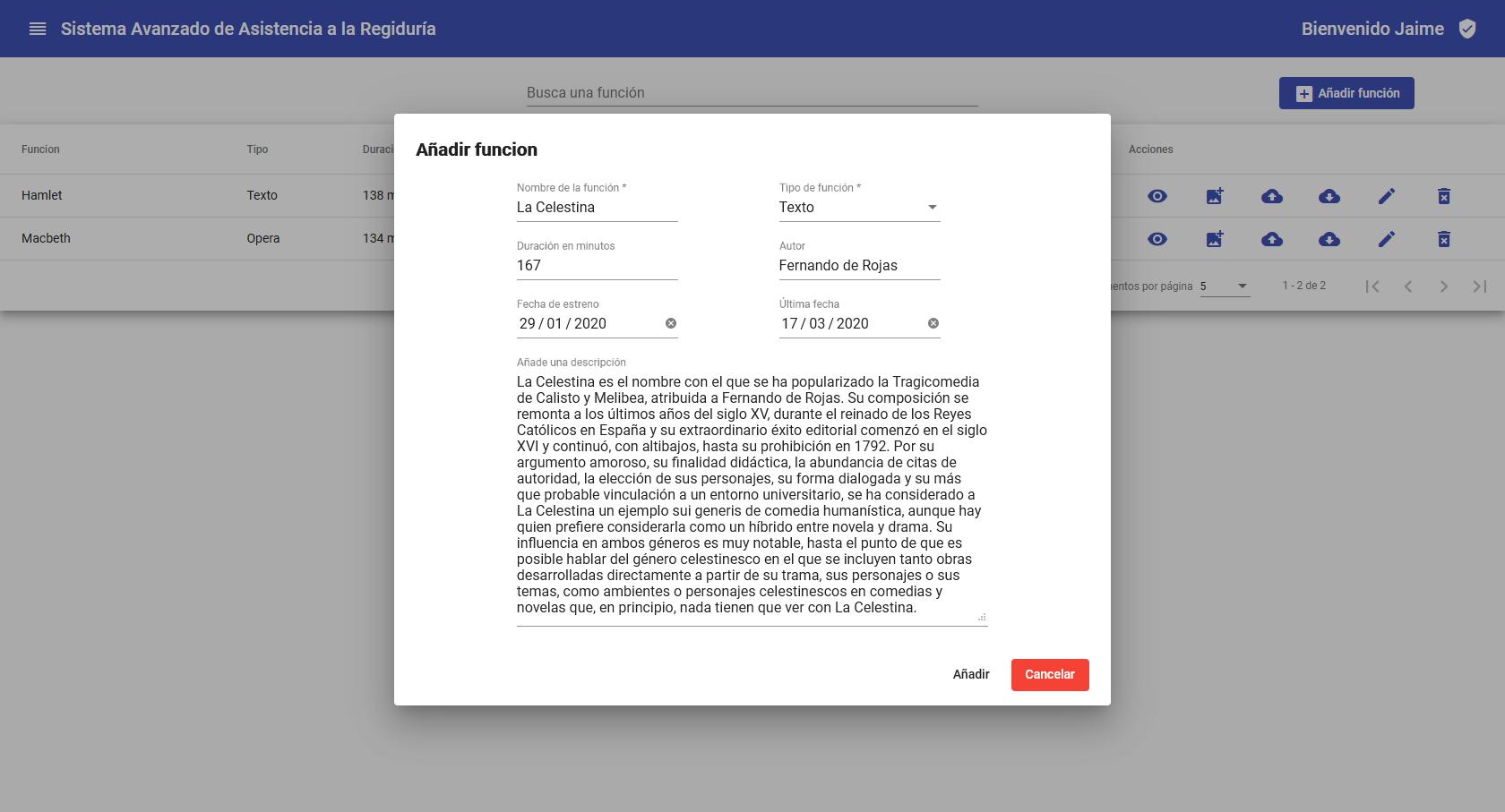 Edición de una función en la aplicación web